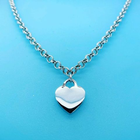 Genuine Hallmarked 925 Sterling Silver Belcher Chain Necklace with Heart ( Tif )